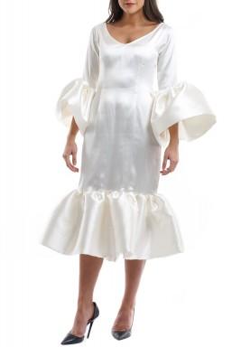 Florinda Ivory Bell Sleeves Ruffled Kaftan