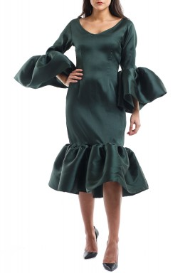 Florinda Green Bell Sleeves Ruffled Kaftan