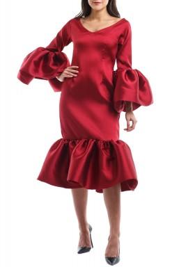 Florinda Maroon Bell Sleeves Ruffled Kaftan