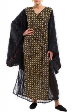 Nabeela Black & Gold Embroidered Kaftan