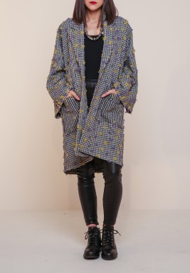 Black & White Embroidered Gogh Coat