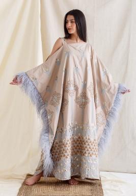 Beige & Blue Embroidered Feather Kaftan