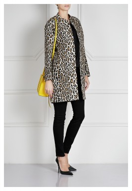 Leopard Zip-Front Long Sleeves Coat