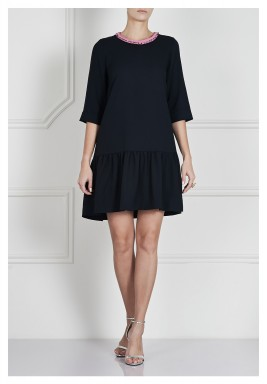 Black Detailed Collar Ruffled Dress