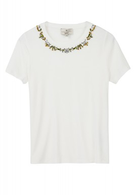 White Sequined Short Sleeves T-Shirt