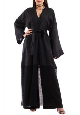 Black Linen Jumpsuit & Bisht Kaftan