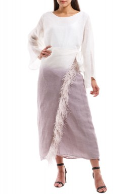 Lavender Hue Feathery Kaftan