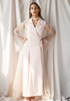 Pink Wrap dress With Tulle Sequined Bisht
