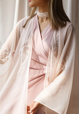 Pink Crepe Wrap Dress With Organza Bisht