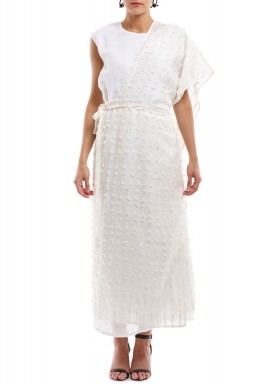 White Kaftan With White Tie-On Shawl