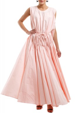 Pink Embroidered Pleated Linen Kaftan