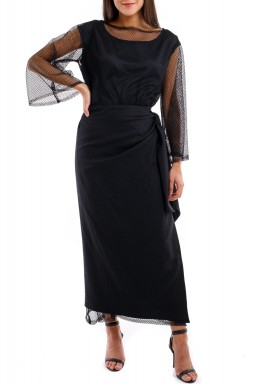 Net wrap dress black