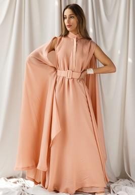 Pink Cape-Like Belted Maxi Kaftan