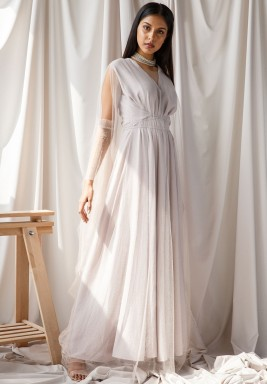 Grey Belted Sequined Tulle Cuffs Kaftan