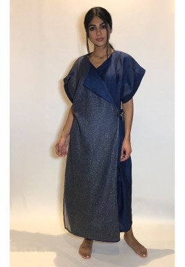 Navy & Grey Shimmery Wrap Kaftan