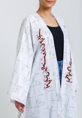 White & Red Embroidery Maxi Bisht