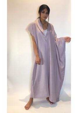 Light Purple Blazer Style Linen Kaftan