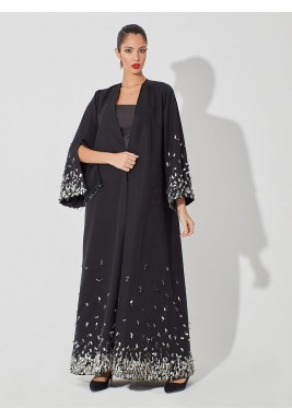 Black Embellished 3/4th Sleeves Abaya