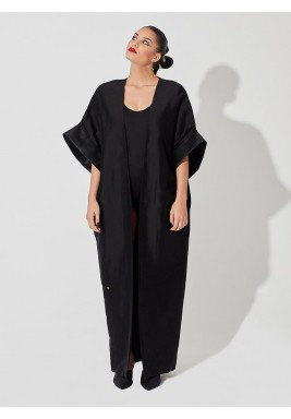 Long, raw silk cardigan black