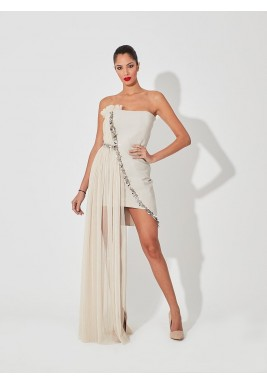Sheer tulle pleated dress