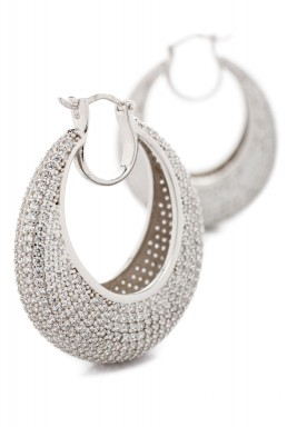 Oval Hoop Pave Earring