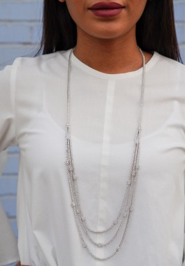 Triple Line Soiree 925 Silver Necklace
