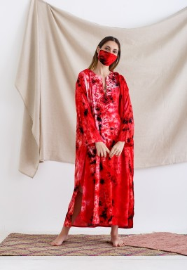 Red Tie Dye Kaftan with Mask
