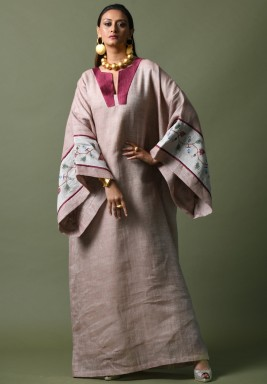 Beige & Maroon Oversized Sleeves Kaftan