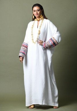 White Embroidered Maxi Kaftan