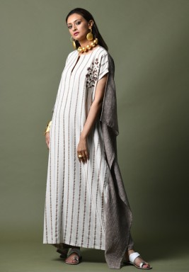White & Grey Striped Embroidered Kaftan