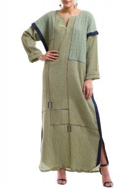 Green navy embroidered kaftan
