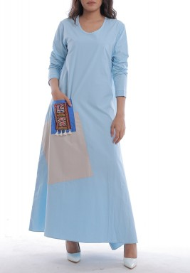 Blue Embroidered Pocket Dress