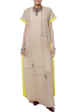 Yellow lined kaftan