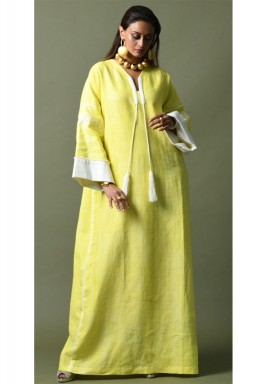 Yellow & White Embroidered Kaftan
