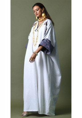 White Embroidered V-Neck Kaftan