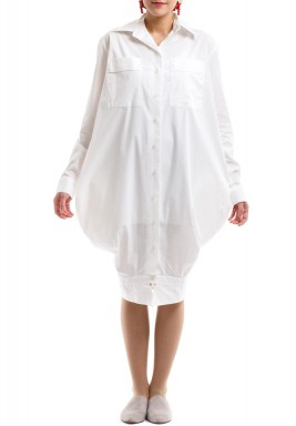 White Upside Down Shirt Dress