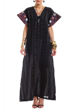 Black Printed Short Sleeves Kaftan