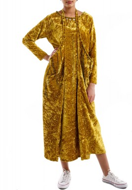 Yellow velvet kaftan