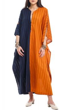 Half Orange Half Blue Kaftan