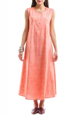 Peach Buttoned Sleeveless dress