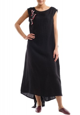 Side fringes black kaftan