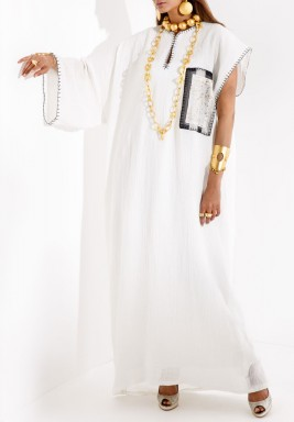 White Stitched Splashed Kaftan