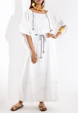 White Splashed Maxi Kaftan