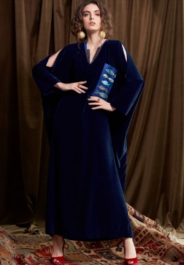 Navy Fish Embroidered Maxi Kaftan