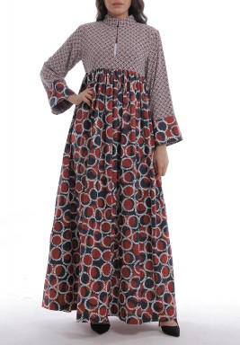Red Maliha Printed Maxi Dress