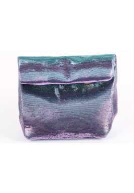 Purple Metallic Mini Wrap Pouch