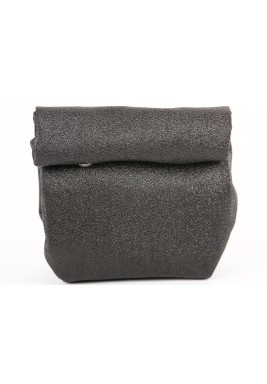 Plain Black Silver Metallic Mini Wrap Pouch