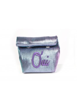 Blue Purple Metallic French Wrap Pouch