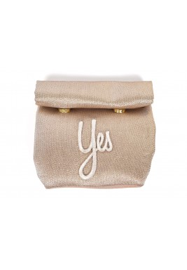Gold Metallic Embroidered Wrap Pouch