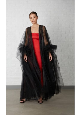 Tulle evening Abaya with rushed sleeves